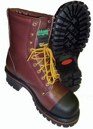 "24128 - LABONVILLE KEVLAR 2"" HIGH HEEL (SIZES 8-13) CHAINSAW SAFETY STEEL BOX TOE BOOT MADE IN USA"